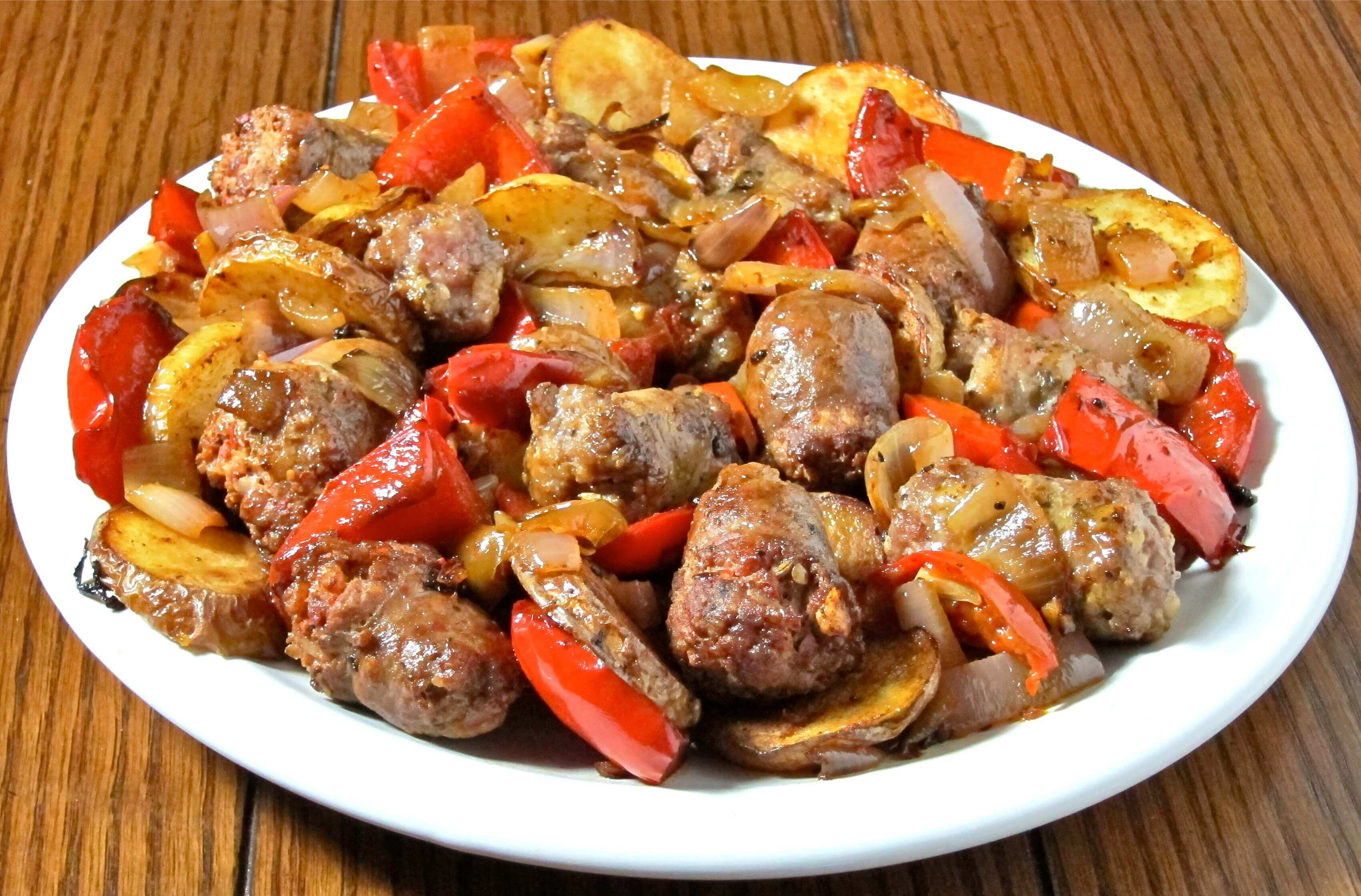 Breakfast Sausage Sautéed with Red and Green Bell Peppers